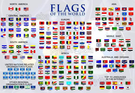 Pósters Paises Y Banderas Del Mundo - 120x85 Cm - 4 Mod.