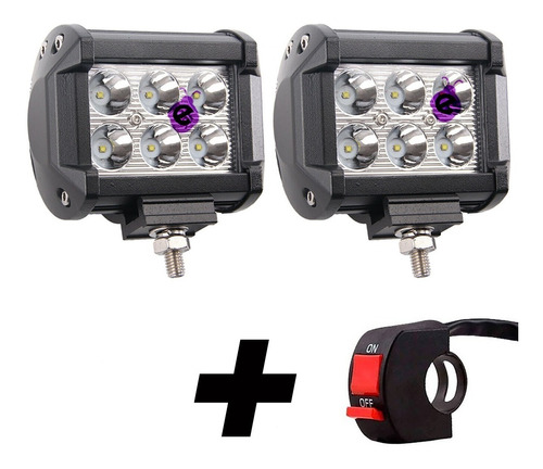 Caja X 2 Reflectores Barra 6 Leds 22w + Switch Para Moto