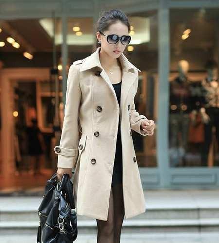 Sobretudo Importado Feminino Trench Coat Elegante Lã Bege