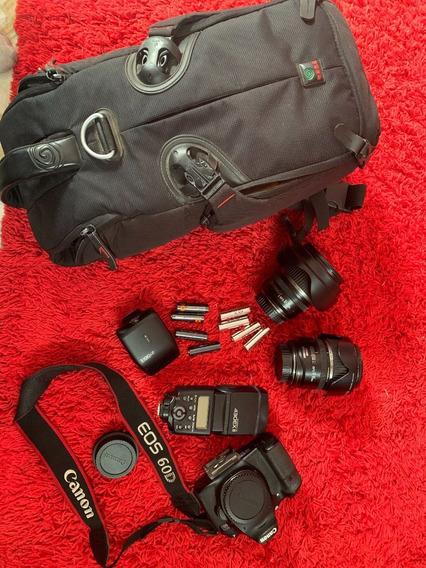 Canon 60d, Com Acessórios. Pronta Para O Trabalho.