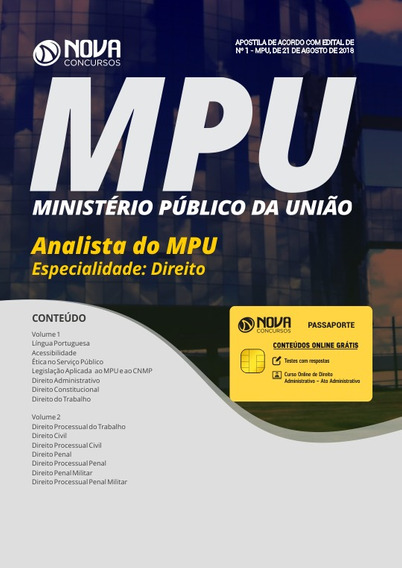 Apostila Mpu 2018 - Analista Do Mpu - Especialidade: Direito