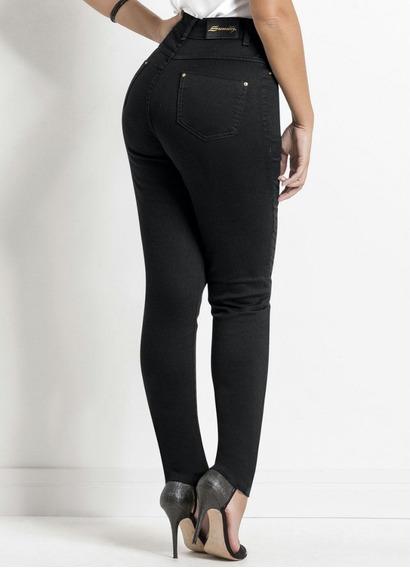 Calça Sarja Sawary Preta Modelo Hot Pants Frete Gratis
