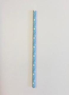 1000 Canudos Papel Azul C- Estrela Branca - 6mm -biodegra...