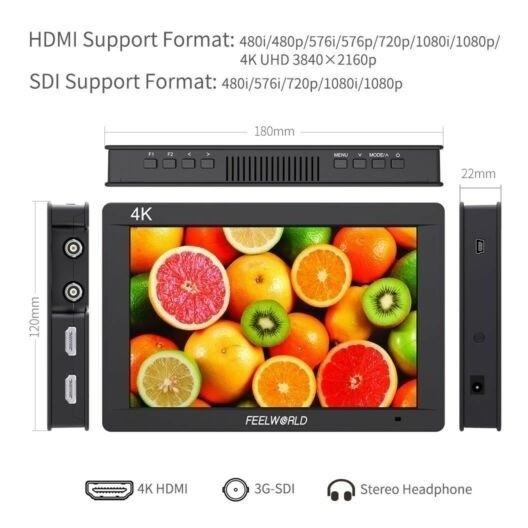 Monitor Feelworld Fw703 7 Ips 3g Sdi 4k Full Hd Hdmi