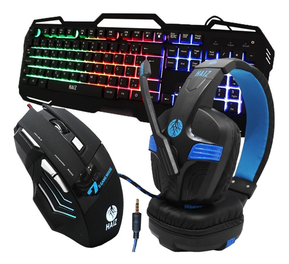 Kit Gamer Haiz Hz32 Teclado Mouse E Headset Gamer