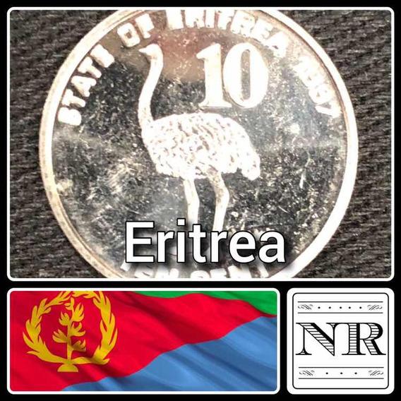 Eritrea - 10 Cents - Año 1991 - Km # 45 - Unc - Avestruz