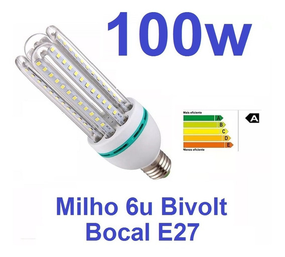 Lampada Led Milho 6u Bocal E27 Bivolt 6000k Economica 100w