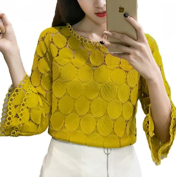Camisa Feminino Blusa Social Manga Longa Renda Foto Real