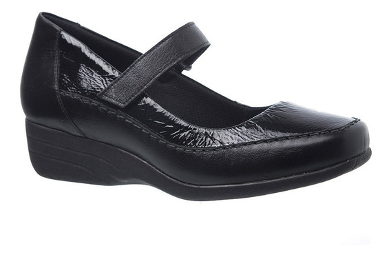Sapato Feminino Anabela 3144 Em Couro Preto/verniz Preto Doc