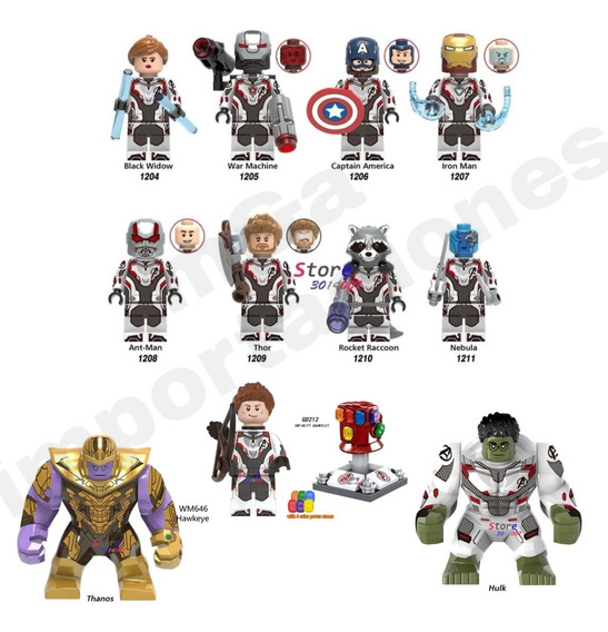 Set 12 Figuras Avengers End Game Marvel Guantele Compatible