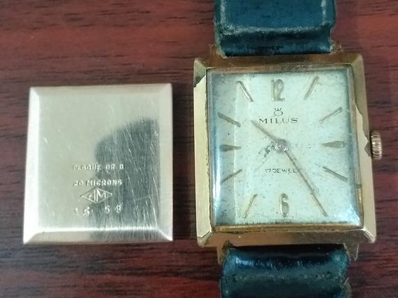 Relógio Corda Milus Plaque Ouro 20 Microns Lindo Brilhante