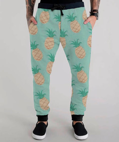 Calça Moletom Verde Abacaxi Fruta Fruit Pineapple Swag Cool