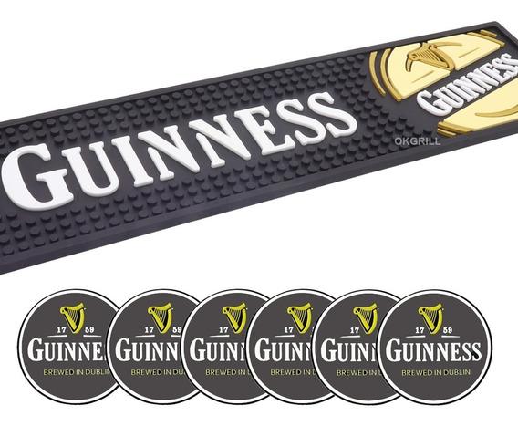 Bar Mat Tapete + 6 Descansos Copo Alto Relevo Guinness