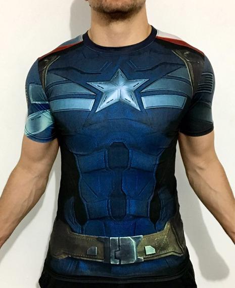 Playera Capitan America Crossfit Gym Marvel Avengers Licra