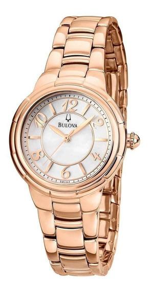 Relogio Bulova Feminino Slim Rose C/ Diamantes Wb27449z Nfe