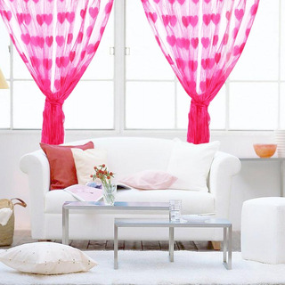 Cortina Decorativa De Coração Pink Love 2 M * 2 M