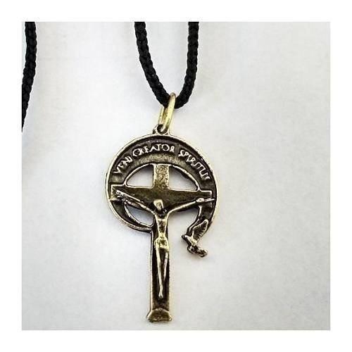 20 Crucifixo Cruz Rcc 6cm Metal Zamak Ouro Velho Com Cordão