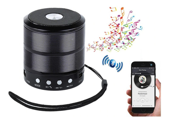 Caixinha Caixa De Som Portátil Bluetooth Mp3 Fm Sd Usb