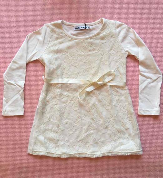 Vestido De Algodón Y Encaje Para Nena