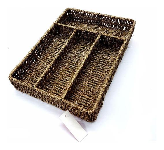 Cubiertero De Seagrass Organizador Cajon Cubiertos Quincho