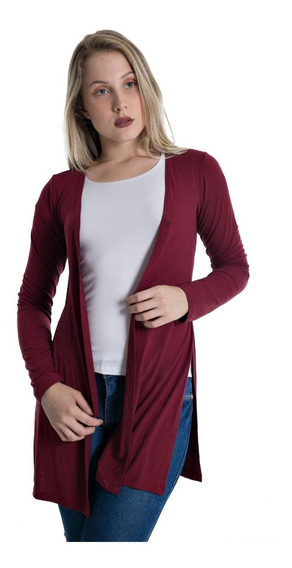 Cardigan Com Laterais Abertas Plus Size Casaco Blusa Feminin