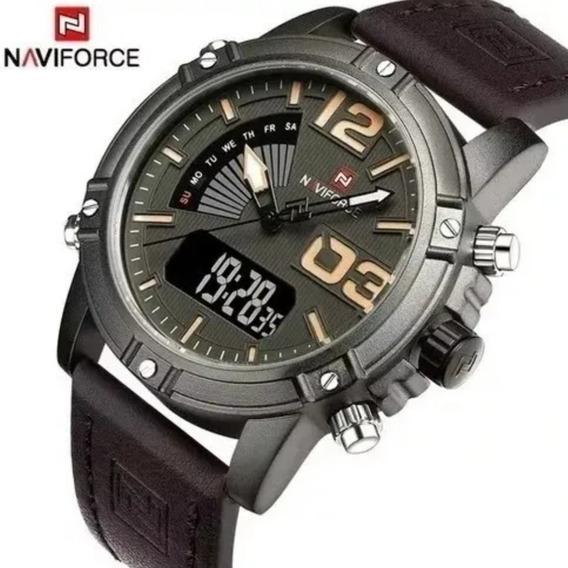 Relógio Masculino Naviforce 9095 Casual - Marron C/ Caixa