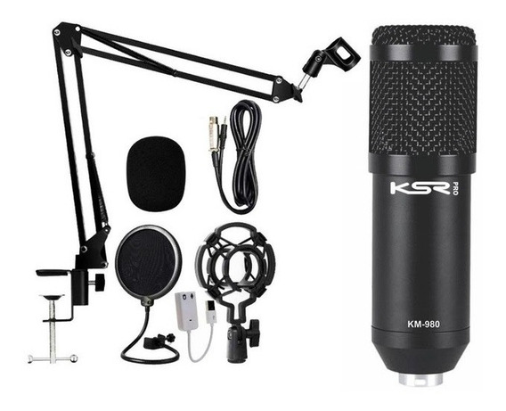 Microfone Para Gravação E Estudio Ksr Pro Km980 (kit)