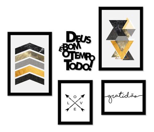Kit Quadros Decorativos Abstrato Amarelo Frases Decor Sala