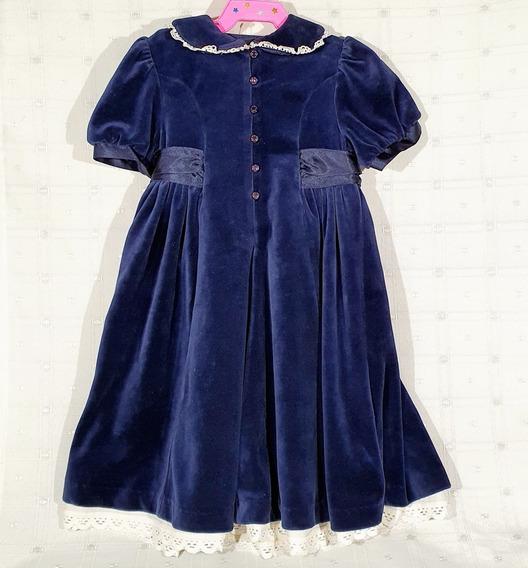 Vestido Vintage Terciopelo Azul T. 2 Marks&spencer Inglés