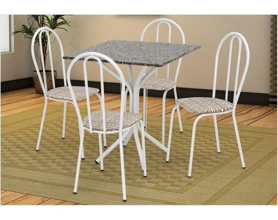 Mesa E Cadeiras Thais Tampo Granito Br/assento Rattan