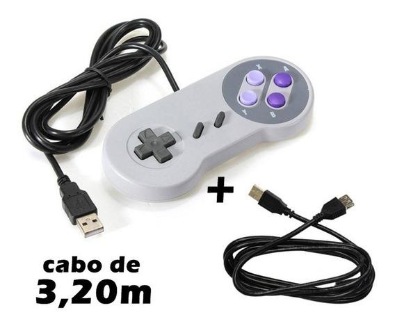 Controle Usb Super Nintendo + Extensor - Cabo Gigante