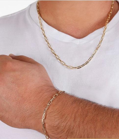 Corrente E Pulseira Cartier Masculino Banhado Ouro 18k