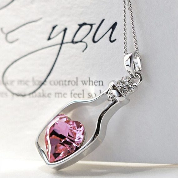 Presente Para Namorada Novidade Colar Coração Na Garrafa