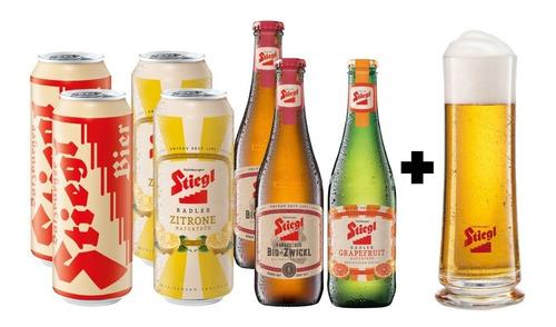 7 Pack De Cervezas Austriacas Stiegl + Vaso