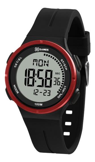 Relógio Masculino Digital Preto E Vermelho X-games 100m + Nf