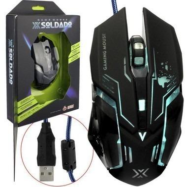 Mouse Gamer Usb 3200dpi Iluminação Led Rgb X Soldado Infokit