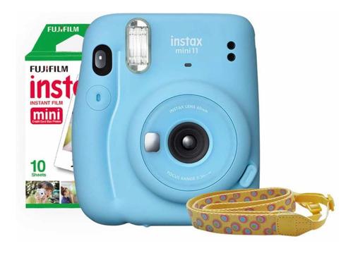 Imagen 1 de 6 de Cámara Fujifilm Instax Mini 11 Azul + Correa + 10 Fotos