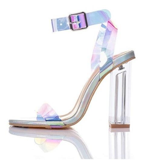 Sandalias De Tacón Alto Holografico Jsun7 Zapatos Mujer