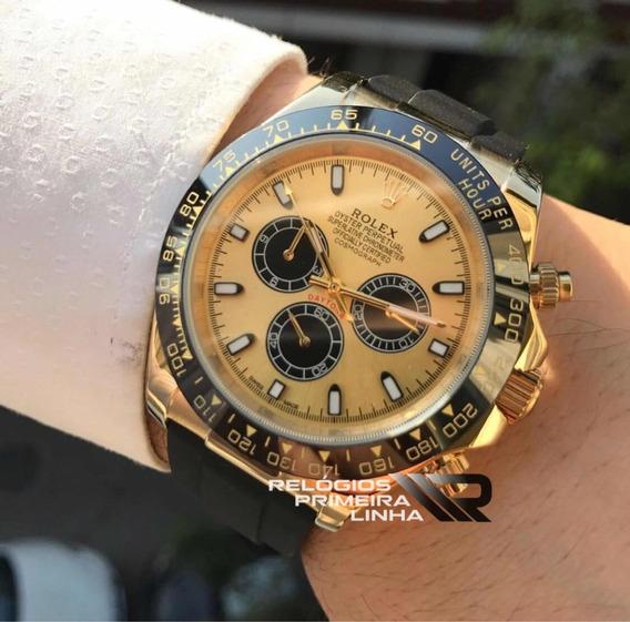 Rolex Daytona Borracha Dourado Com Preto