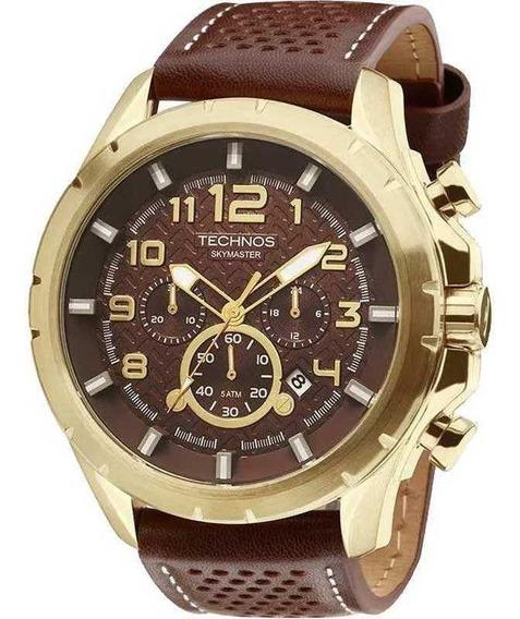Relógio Masculino Technos Cronógrafo Couro Marrom Js25bg/0m