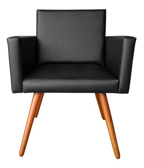 Poltrona Cadeira Vitória Courino Preto Para Consultório Sala Recpção