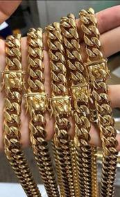 Cadena De Oro Cubano 18k Doble Traba