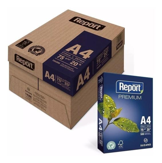 Papel Sulfite Report A4 75gr Caixa Com 2500 Folhas 5 Resmas