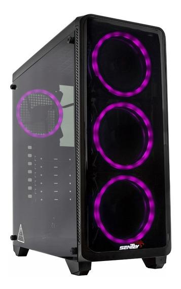 Gabinete Pc Gamer Sentey K20 Lite 4 Led Rgb Vidrio Mexx 1