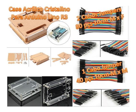 Kit Case Acrílico Arduino Uno + 3 Cabos Jumpers (ver Fotos)