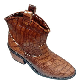 Zapato Mujer Bota Corta Tipo Tejana Cuero Cuero