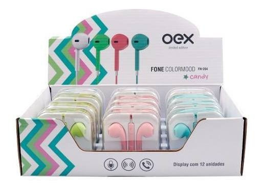 Fone De Ouvido Colormood Candy Display 12 Unidades Fn204 Oex