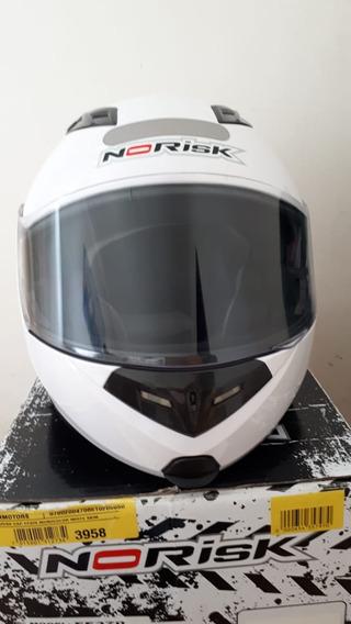 Capacete Para Moto Norisk Ff370 Mono Escamoteavel Branco
