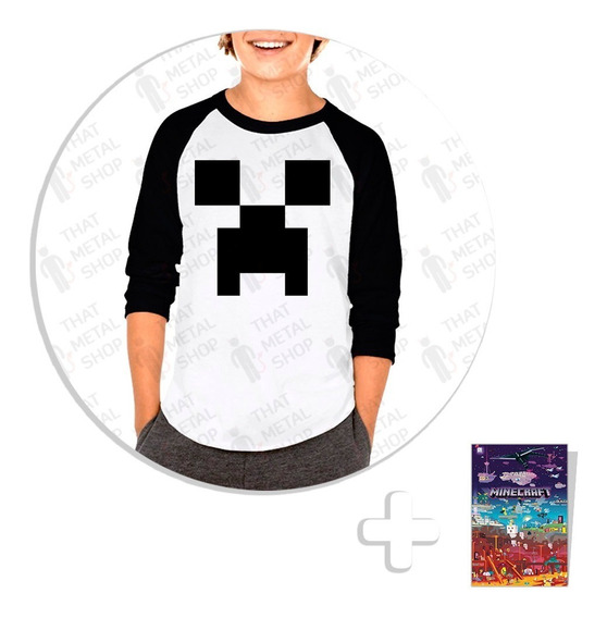 Envío Gratis Playera Raglan Niño Minecraft Creeper + Sticker