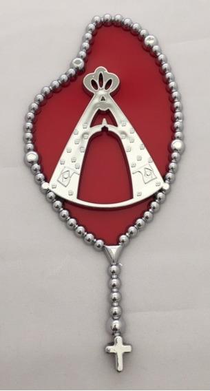 Adesivo Emblema Terço C/ Nossa Senhora Aparecida Cromado